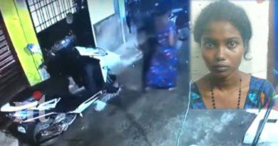 19 year old Ganja Sandhiya stealing bike cctv footage