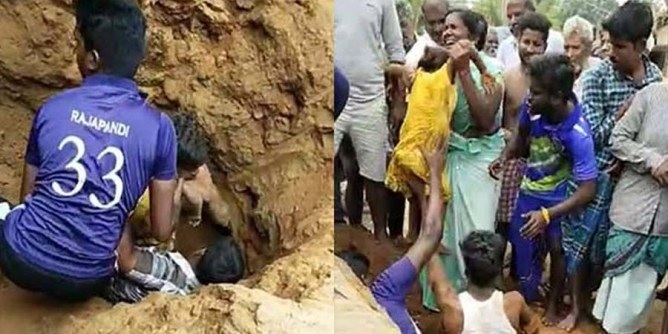 3 year old child fell into a deep well Young men saved in 15 minutes