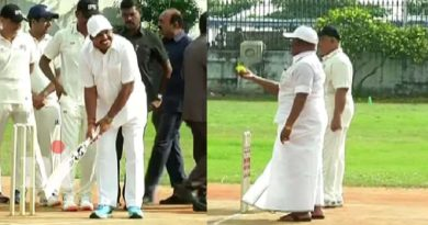cm edappadi palanisamy plays cricket in chennai