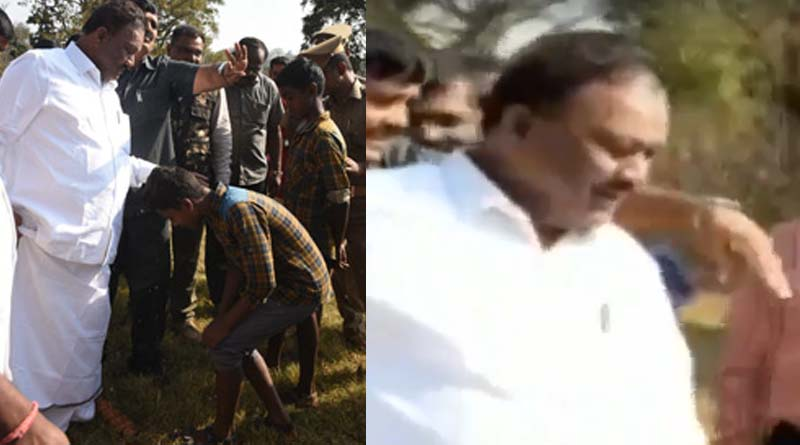 minister-dindigul-srinivasan-asks-tribal-boy-to-remove-his-slipper
