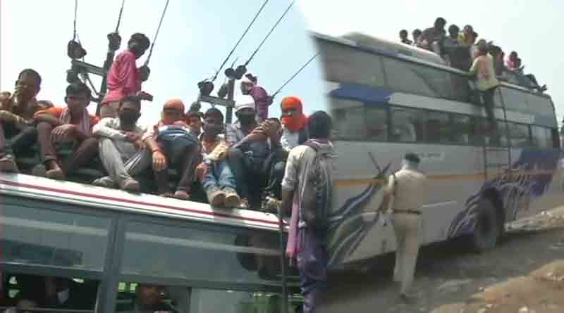 people travelling top buses due to cancellation of trains